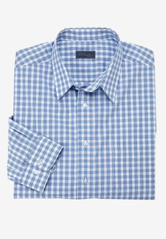 Modern Fit Long-Sleeve Broadcloth Flex Dress Shirt by KS Signature, BLUE CHECK