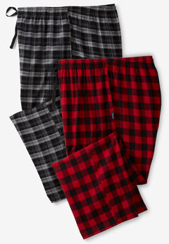 Hanes® Flannel Pajama Pants 2-Pack, RED BLACK PLAID