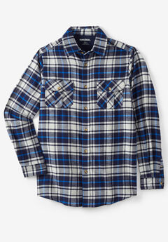 Plaid Flannel Shirt, NAVY PLAID