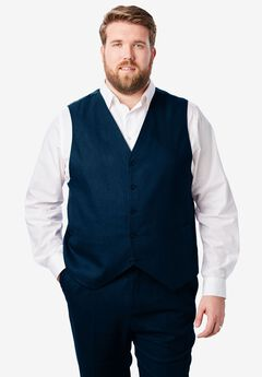 Linen Blend 5 Button Suit Vest by KS Island™, NAVY