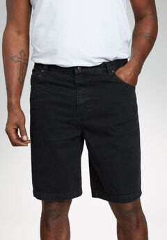 5 Pocket Denim Shorts by Liberty Blues®, BLACK DENIM