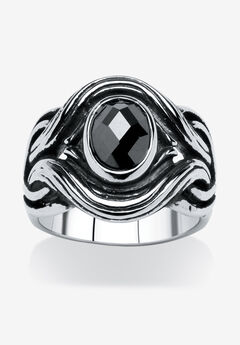 Stainless Steel Antiqued Black Cubic Zirconia Ring,