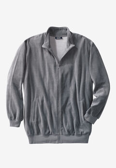 Velour Full-Zip Jacket, STEEL