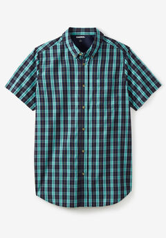 Short-Sleeve Sport Shirt, TIDAL GREEN PLAID