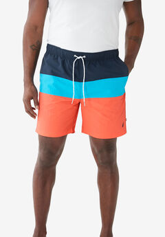 Nautica® Color Block Swim Shorts , LIVING CORAL