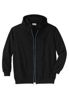 Fleece Zip-Front Hoodie, BLACK