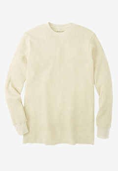 Heavyweight Thermal Underwear Crewneck Tee, HEATHER OATMEAL