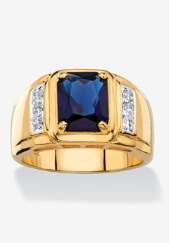 Men's 18K Gold-plated Diamond and Sapphire Ring,