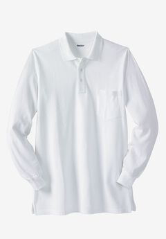 Longer-Length Long-Sleeve Piqué Polo, WHITE