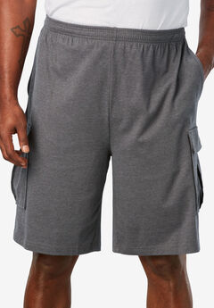 Lightweight Jersey Cargo Shorts, HEATHER SLATE