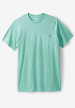 Lightweight Longer-Length Crewneck Pocket T-Shirt, TIDAL GREEN