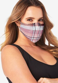 Women's Two-Layer Reusable Face Mask, BERRY PLAID