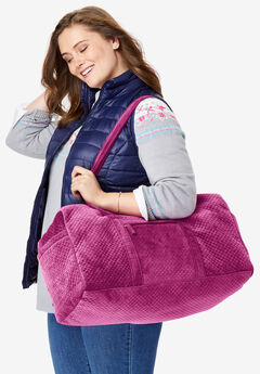 Quilted Velour Duffle Bag,