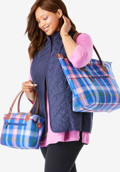 2-Piece Plaid Flannel Tote Set,