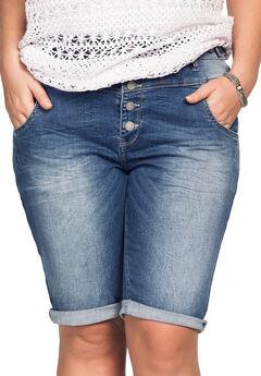 Button-Front Denim Shorts by ellos®,
