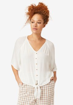V-Neck Tie-Front Blouse by ellos®,