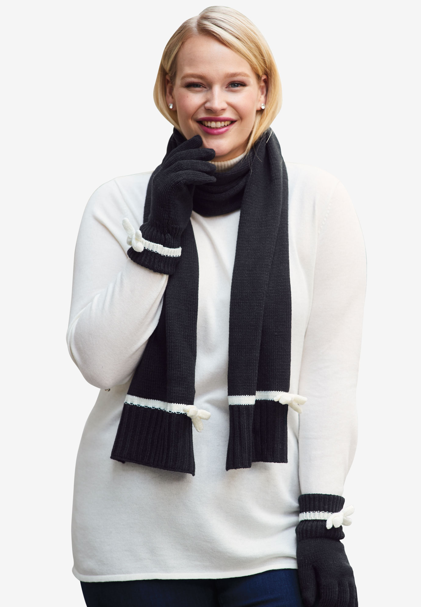 Scarf & Glove Set, BLACK