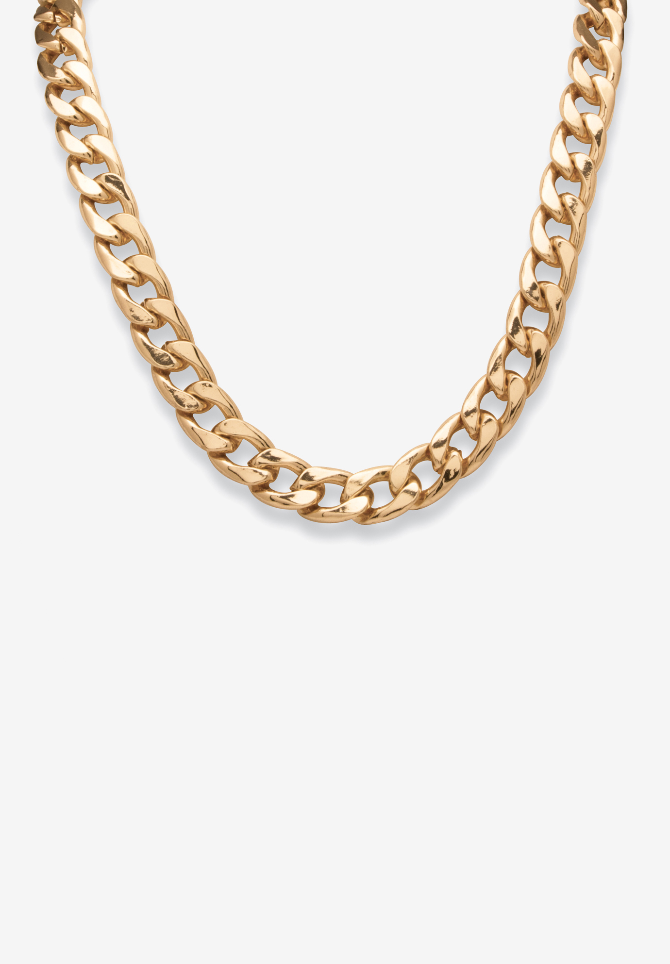 "Gold Tone Curb Link 24"" Chain Necklace, GOLD"