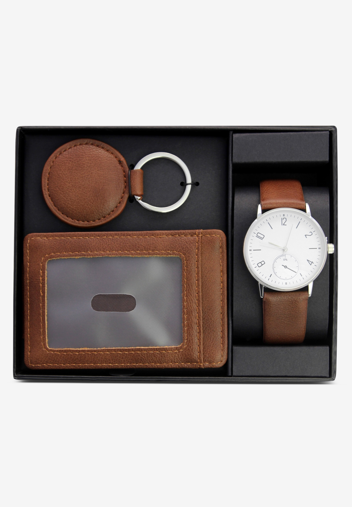 Contemporary Cognac Brown Accessories 3-Piece Gift Set, BROWN