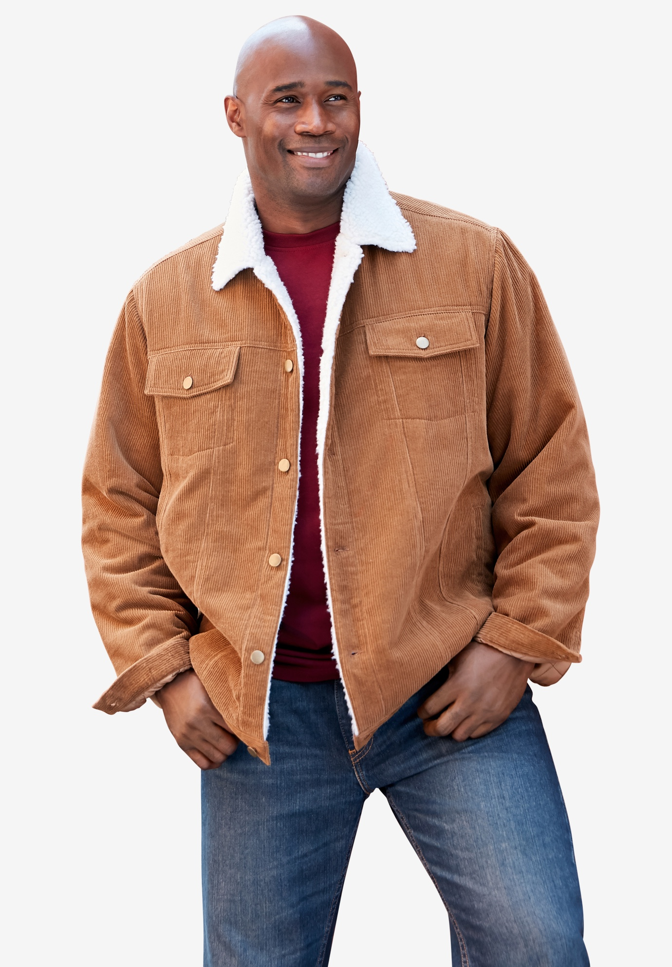 Sherpa-lined trucker jacket, MAPLE BROWN