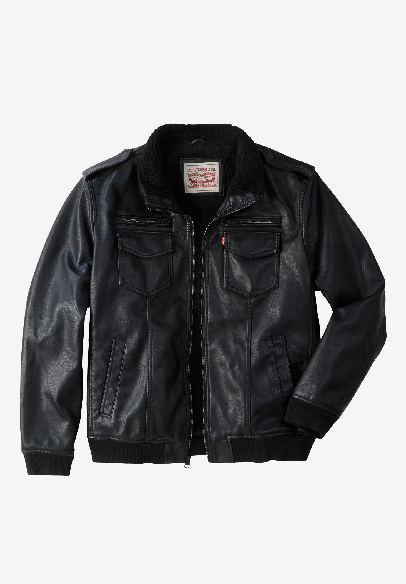 Faux Leather Sherpa-Lined Aviator Bomber Jacket by Levi's®,