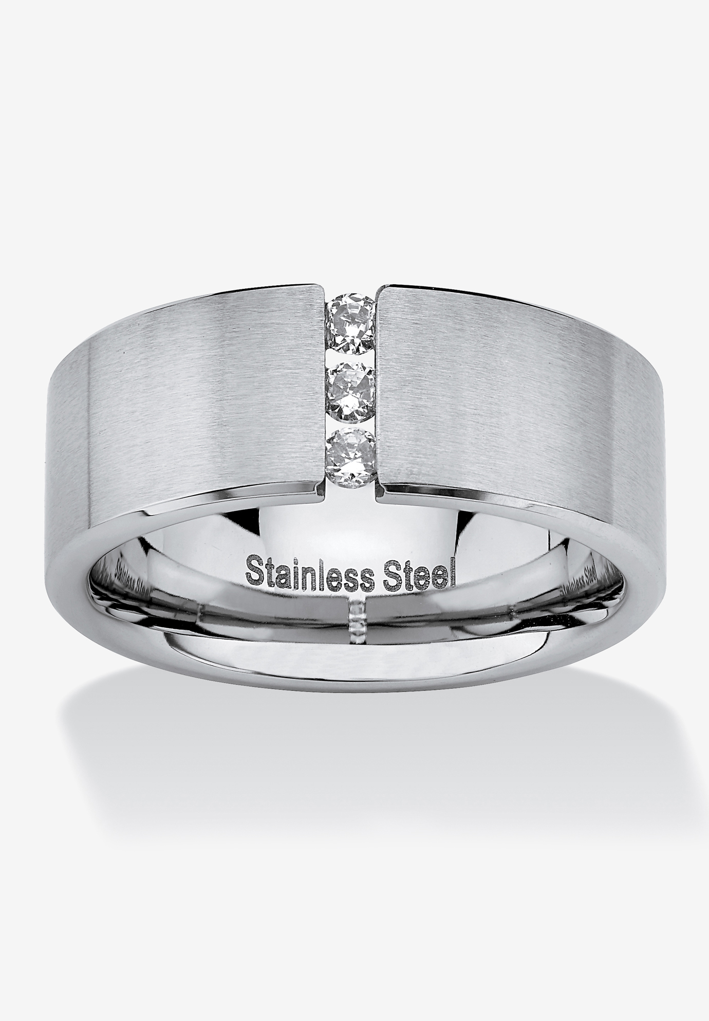 Stainless Steel Cubic Zirconia Brushed Wedding Band Ring,