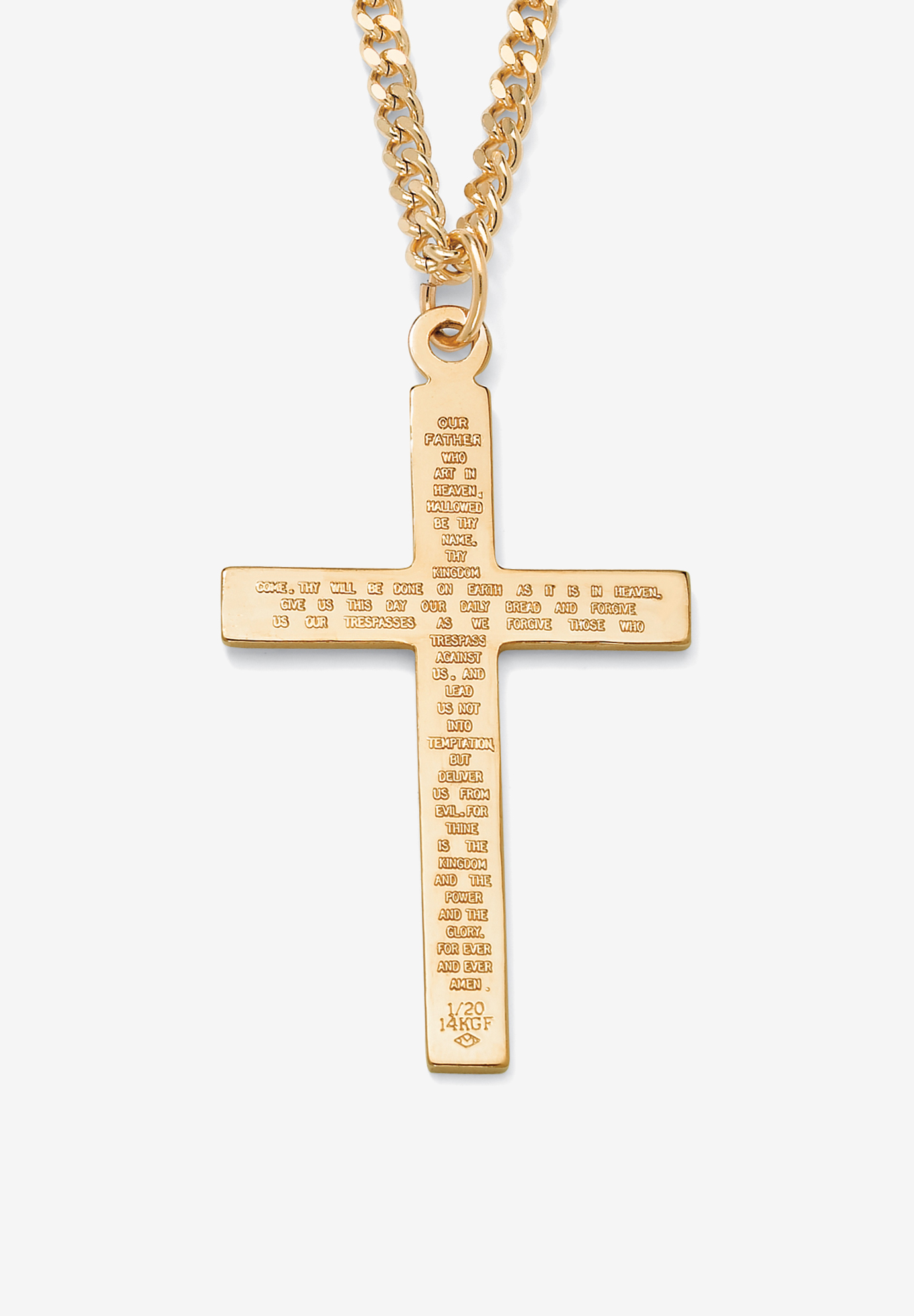 "Gold Filled Lord's Prayer Cross Pendant with 24"" Chain, GOLD"