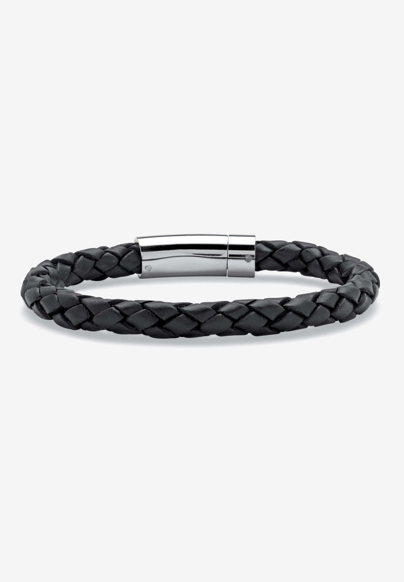 Stainless Steel and Twised Braid Leather Bracelet, STAINLESS STEEL