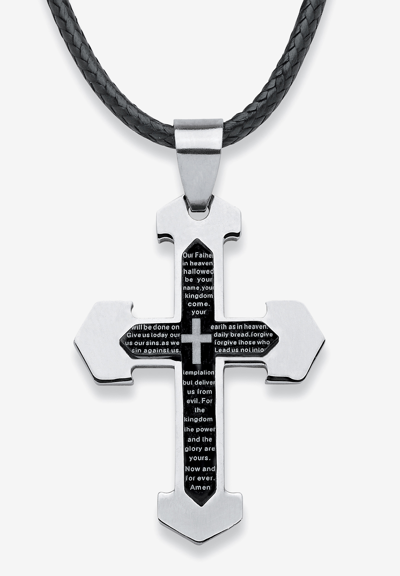 Stainless Steel Lord's Prayer Cross Pendant, STAINLESS STEEL