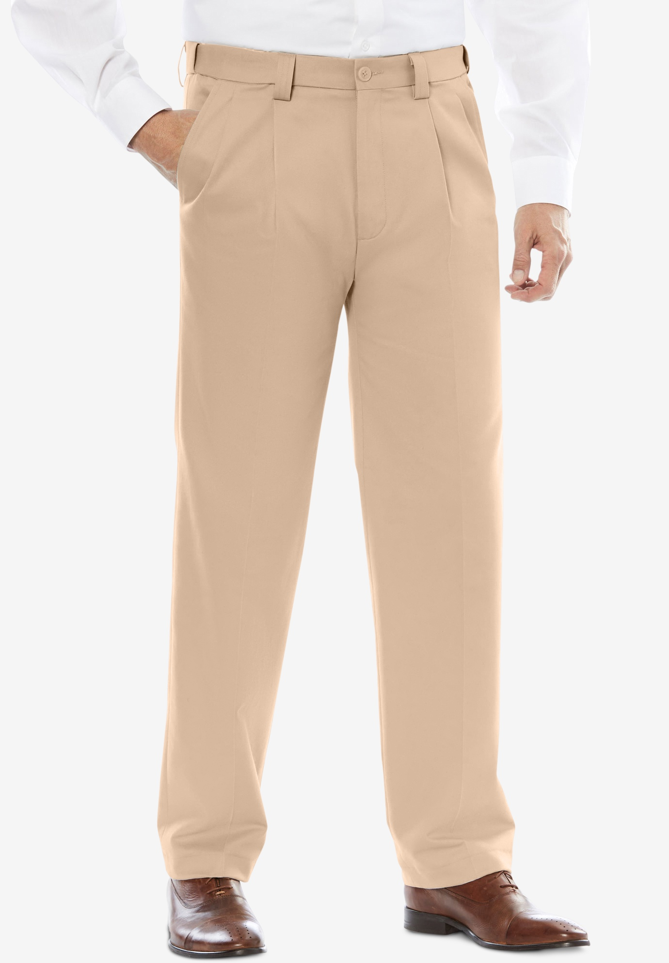 Classic Fit Wrinkle-Free Expandable Waist Pleat Front Pants,