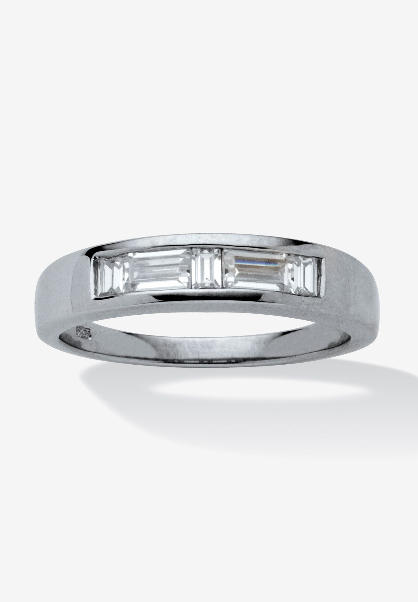 Platinum over Silver Baguette Wedding Band Ring Cubic Zirconia,