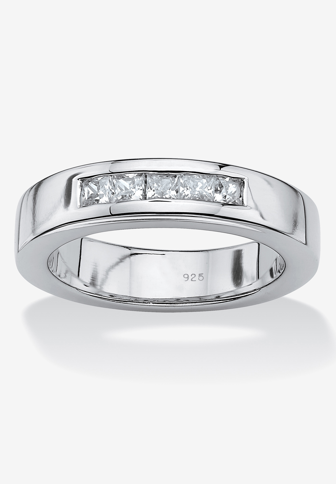 Platinum Over Sterling Silver Cubic Zirconia Wedding Ring,