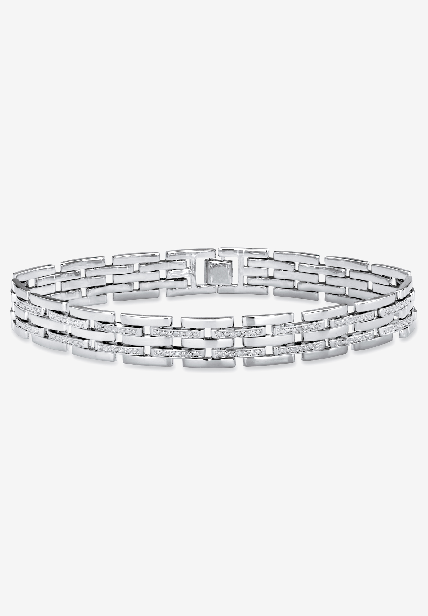 "Diamond-Accented Silver-Tone Link Bracelet 9"", SILVER"