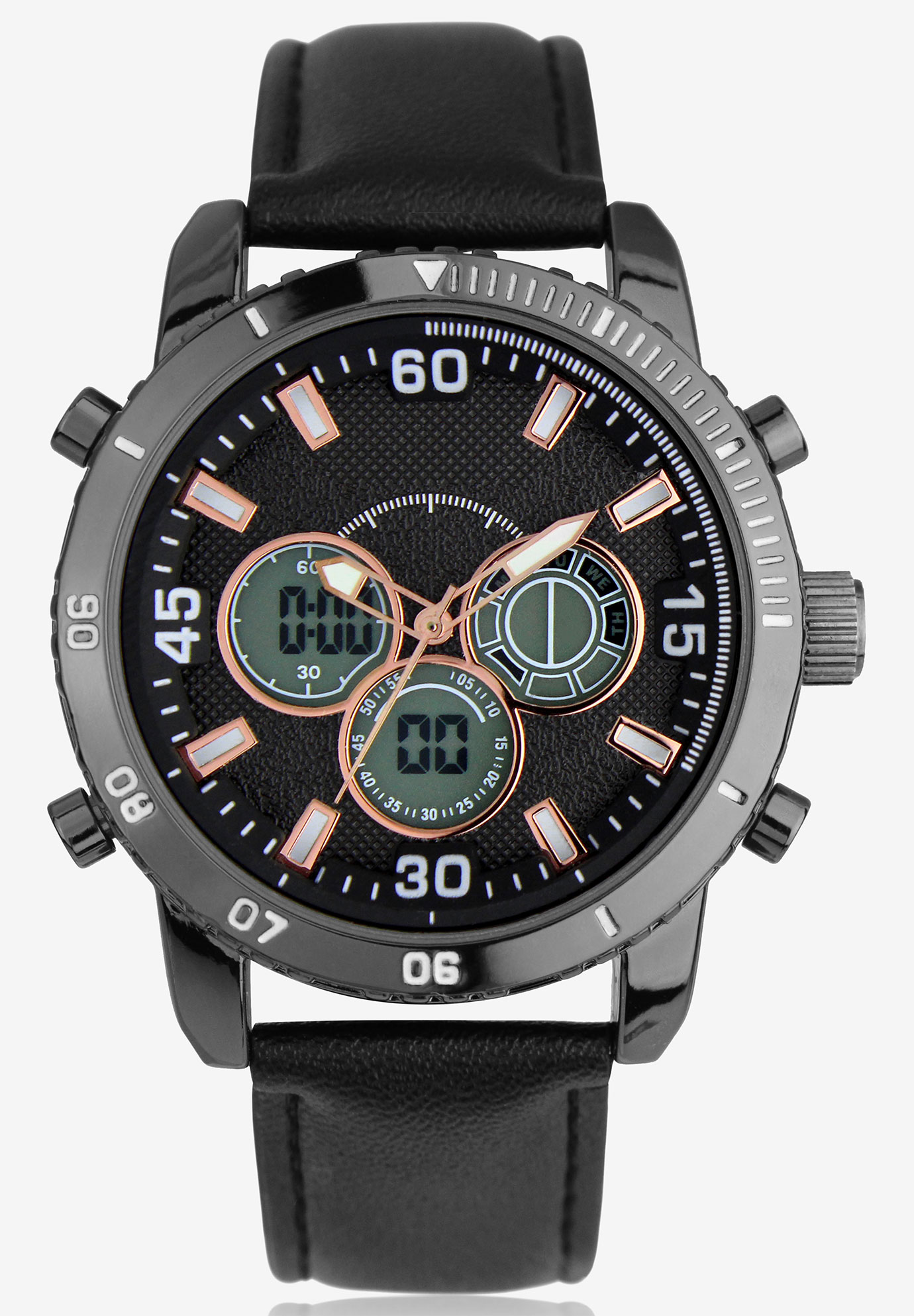 Dual Time/Alarm Chronograph Watch, BLACK