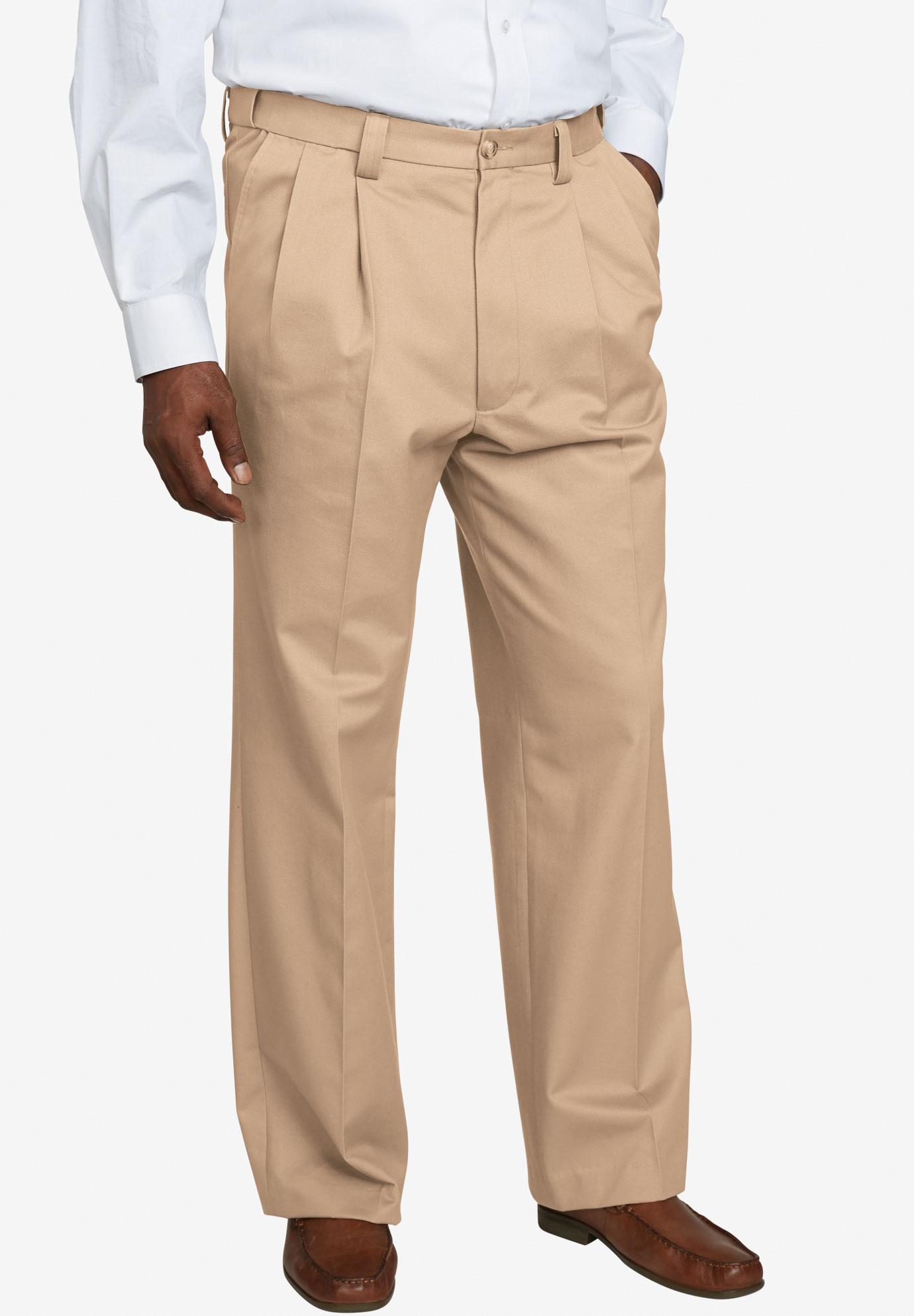 KingSize Mens Big /& Tall Signature Fit Wrinkle-Resistant Pleat Front Dress Pants