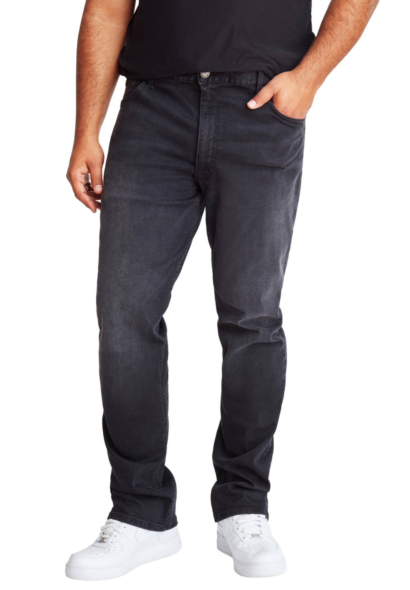 MVP Collections® Black Vintage Wash Straight Leg Jeans,