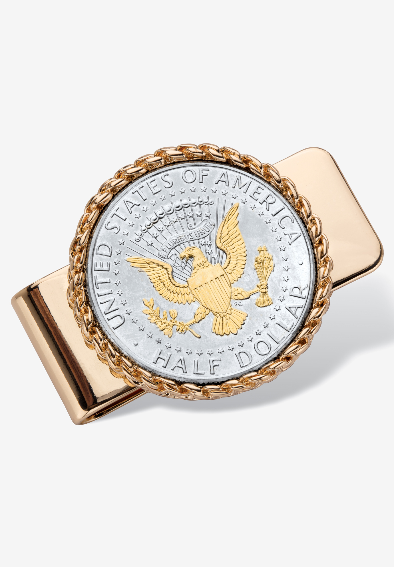 Goldtone Money Clip Round with Genuine Silver Coin, GOLD