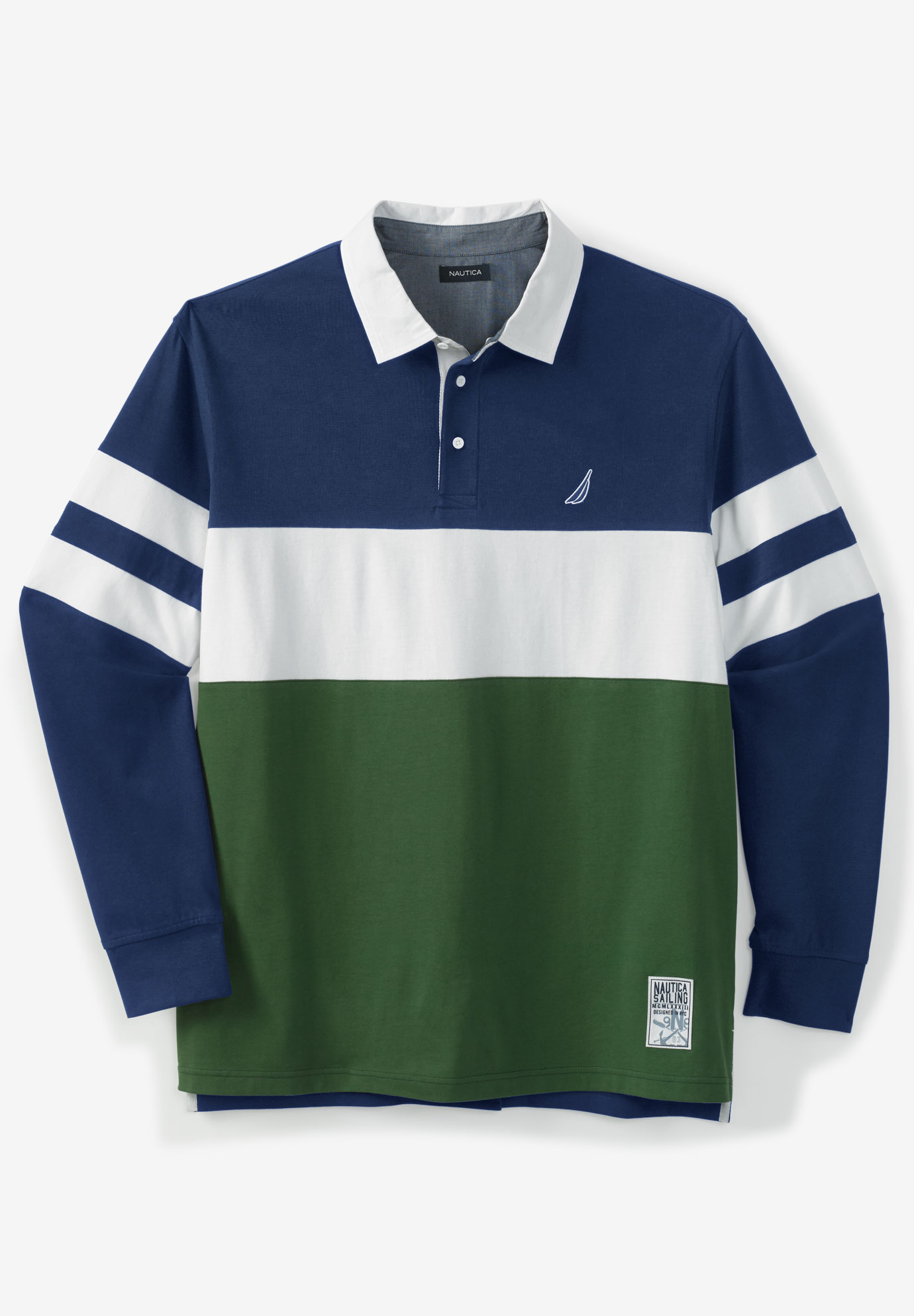 KingSize Mens Big /& Tall Long-Sleeve Rugby Polo