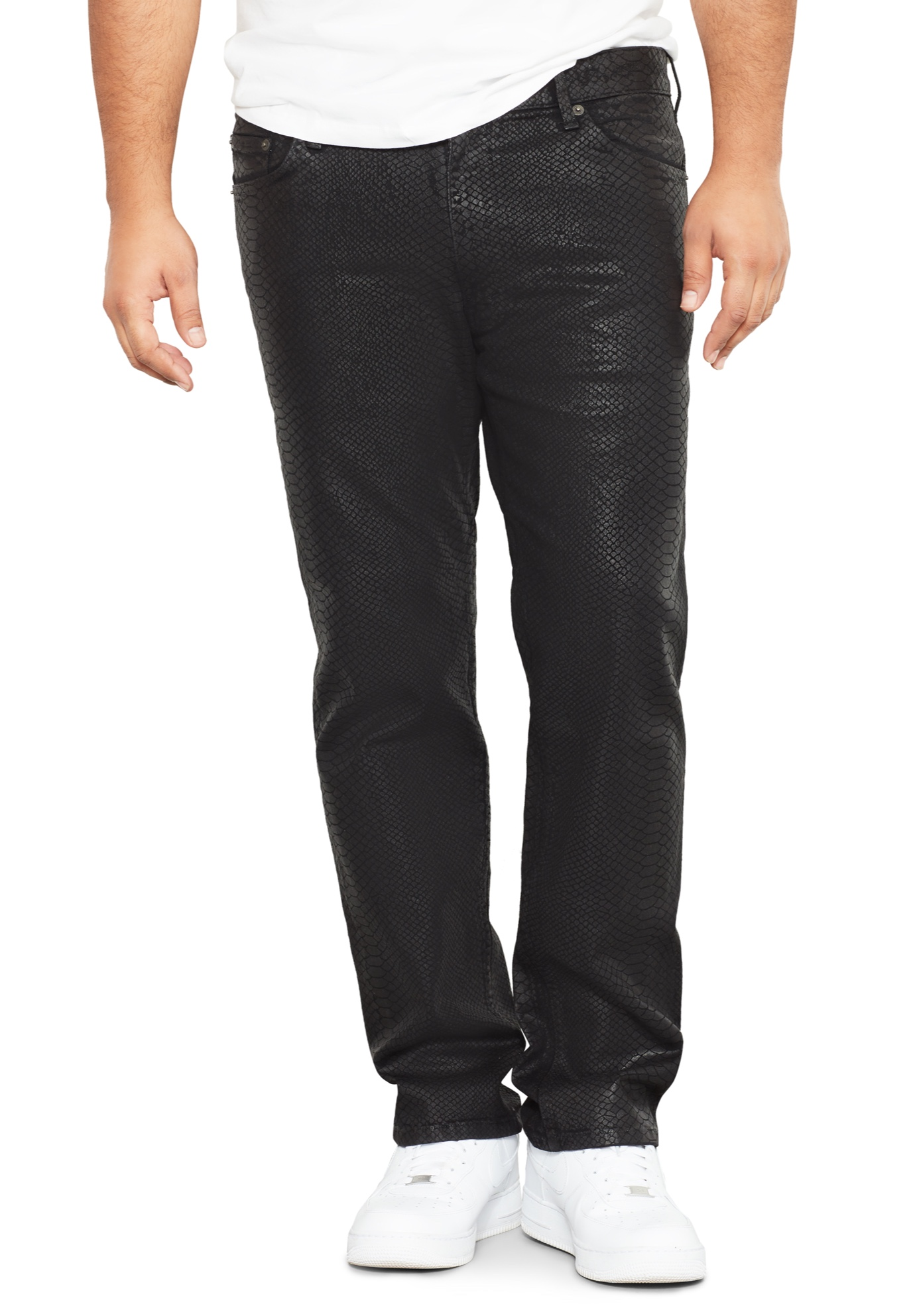 MVP Collections® Cobra Print Wax Straight Fit Jeans,