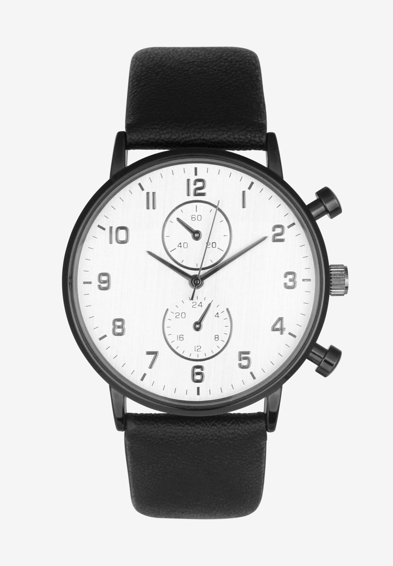 Gunmetal Watch with Faux Leather Strap, BLACK