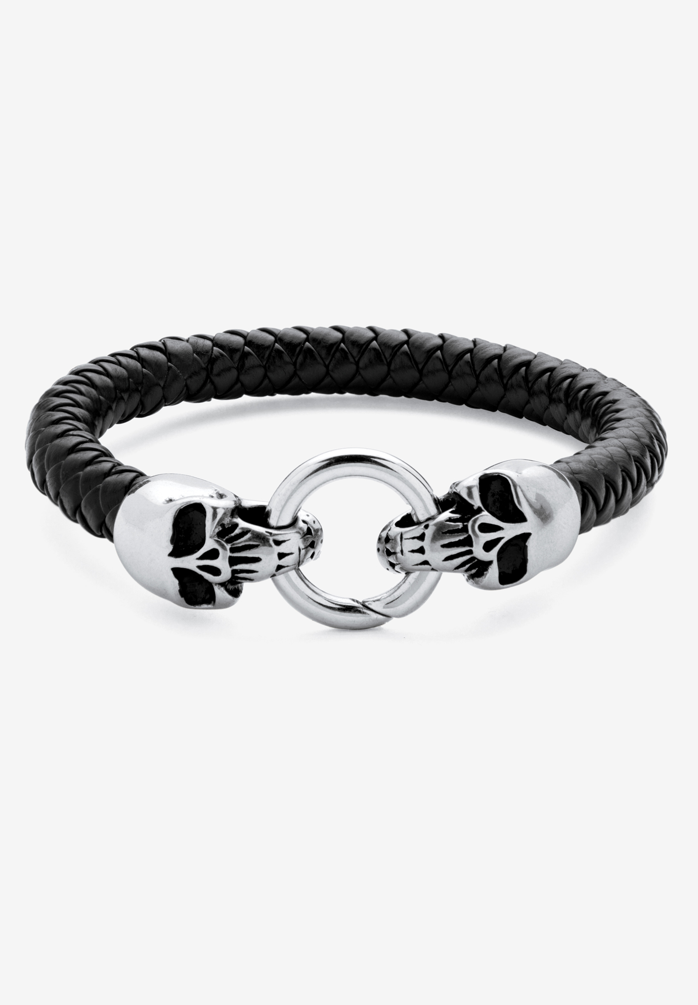 "Stainless Steel Double Skull Bangle Bracelet 9"", STAINLESS STEEL"