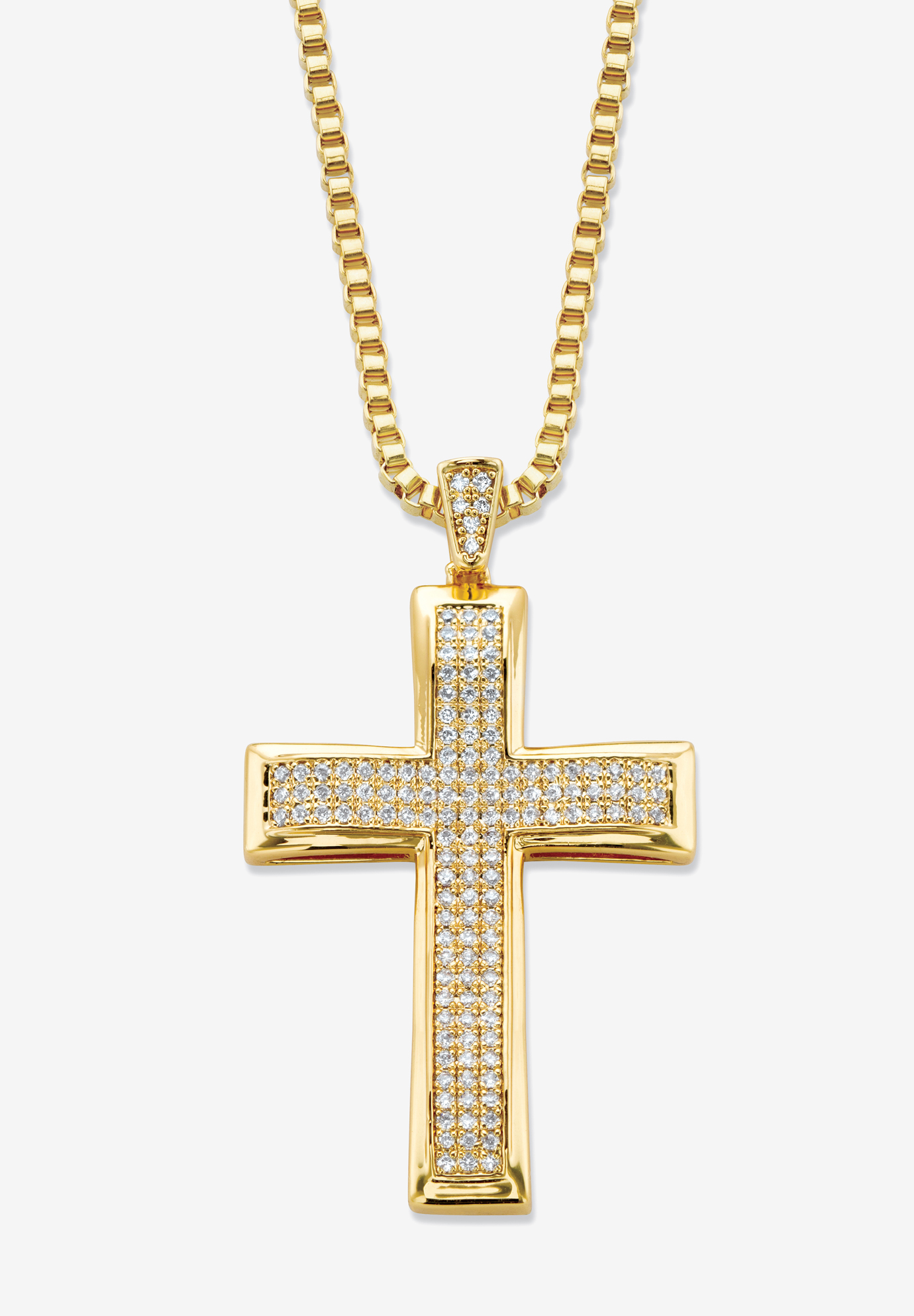"Yellow Gold Plated Cubic Zirconia Studded Cross Pendant with 24"" Chain, GOLD"