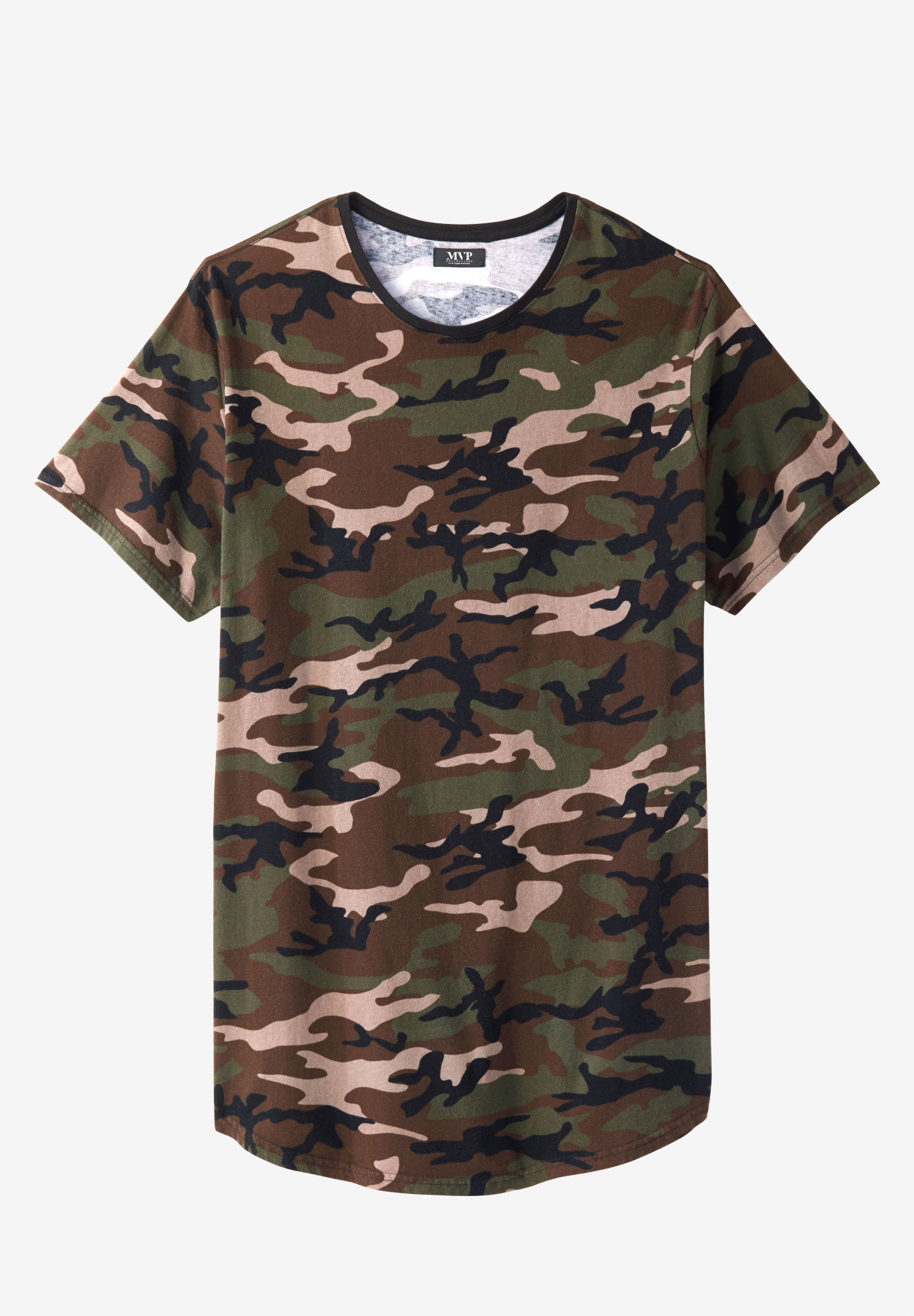 Curved Hem Camo Tee by MVP Collections®,