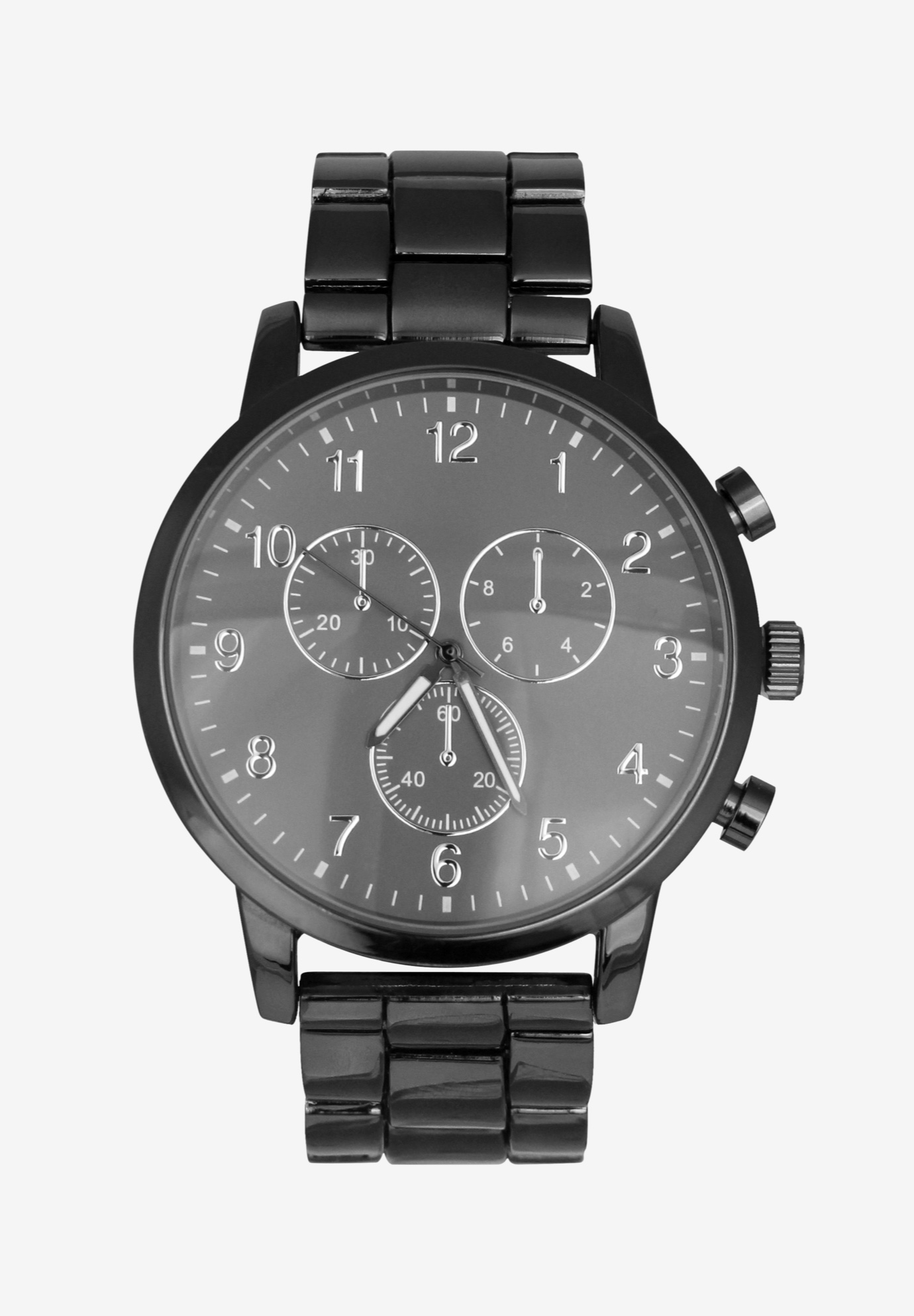 Gunmetal Chronograph Watch with Link Strap, ANTIQUE NICKEL