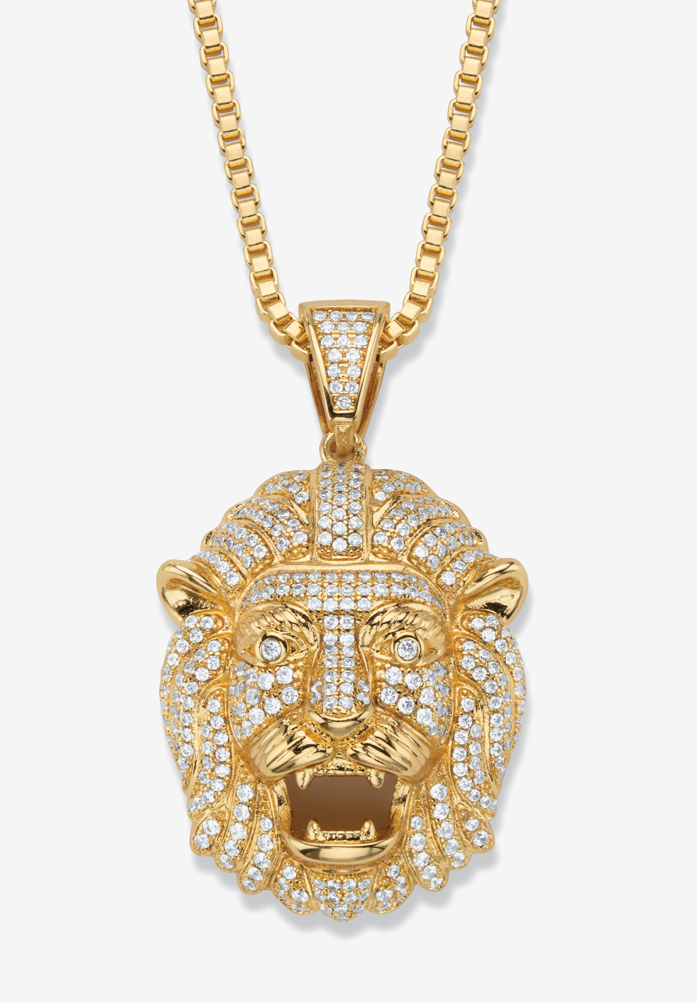 "Gold-Plated Lion Head Pendant with Cubic Zirconia accents with 22"" Chain, CUBIC ZIRCONIA GOLD"