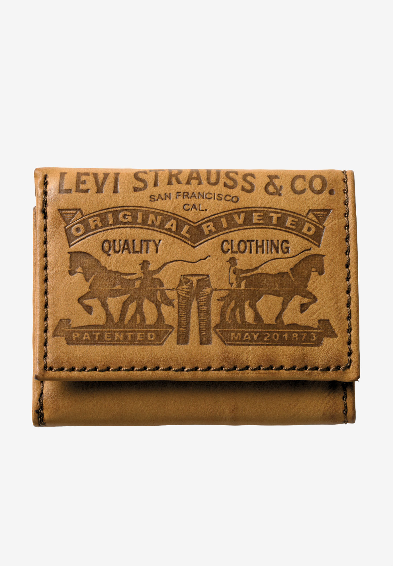 Leather Trifold Wallet with Embossed Logo by Levi's®,