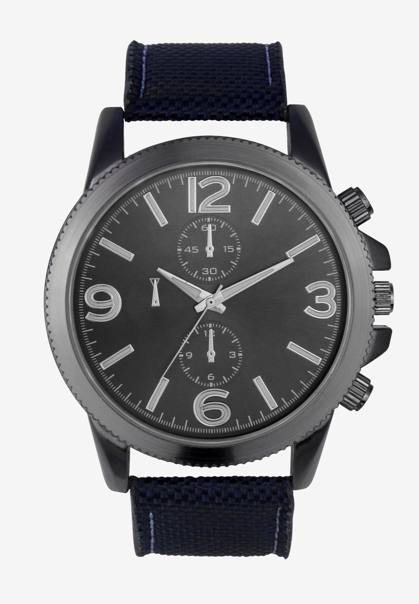 Sports Watch with Grosgrain Band, NAVY