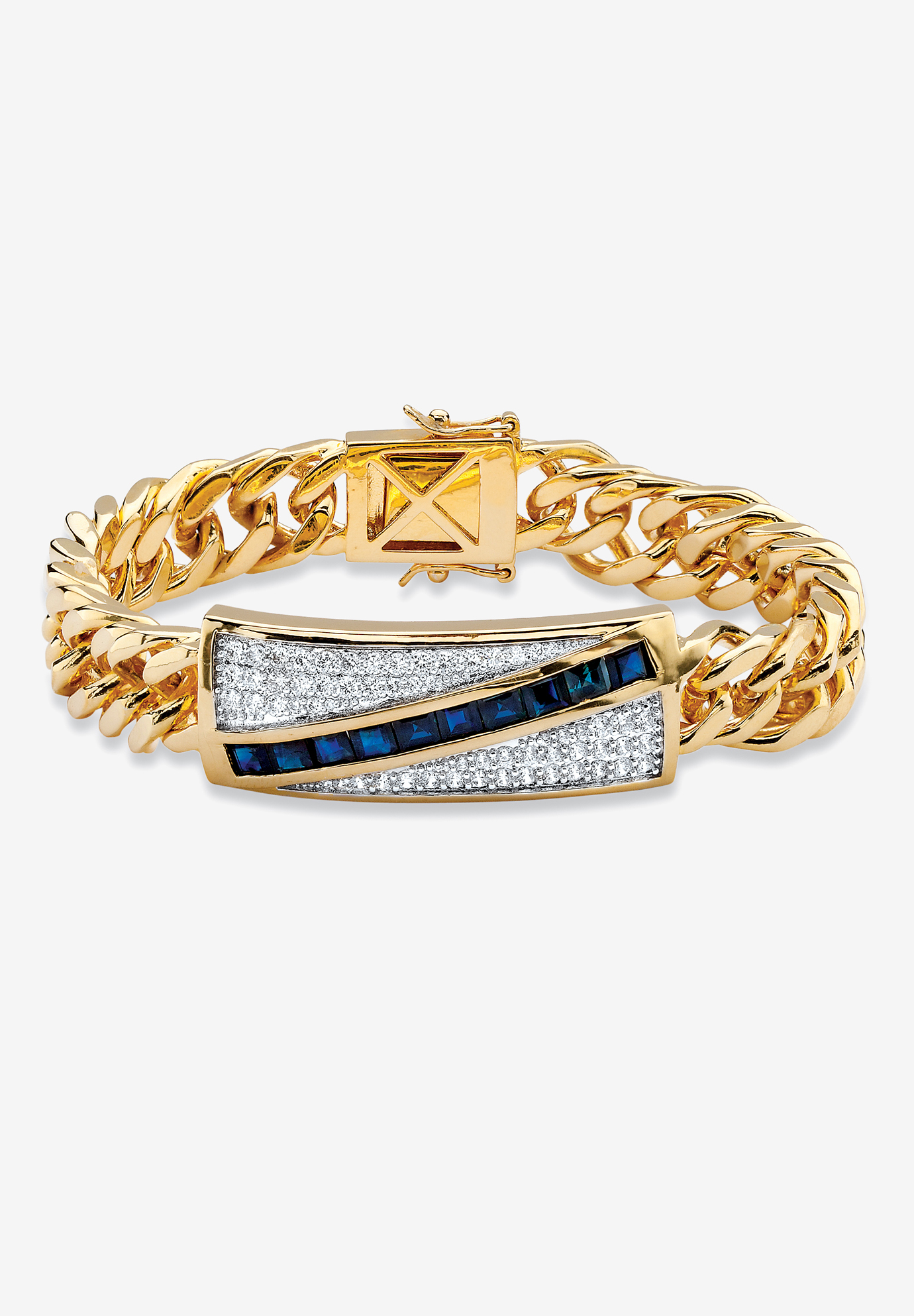 "Yellow Gold-Plated Link 8"" Bracelet with Sapphire and Cubic Zirconia Accents, GOLD"