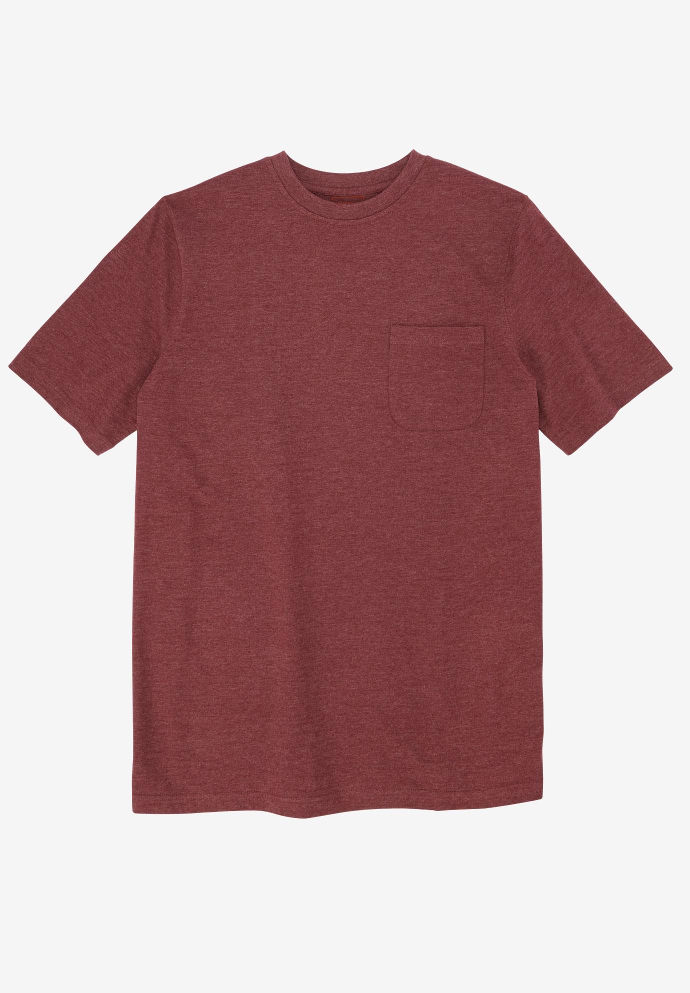 Boulder Creek by Kingsize Mens Big /& Tall Heavyweight Longer-Length Pocket Crewneck T-Shirt