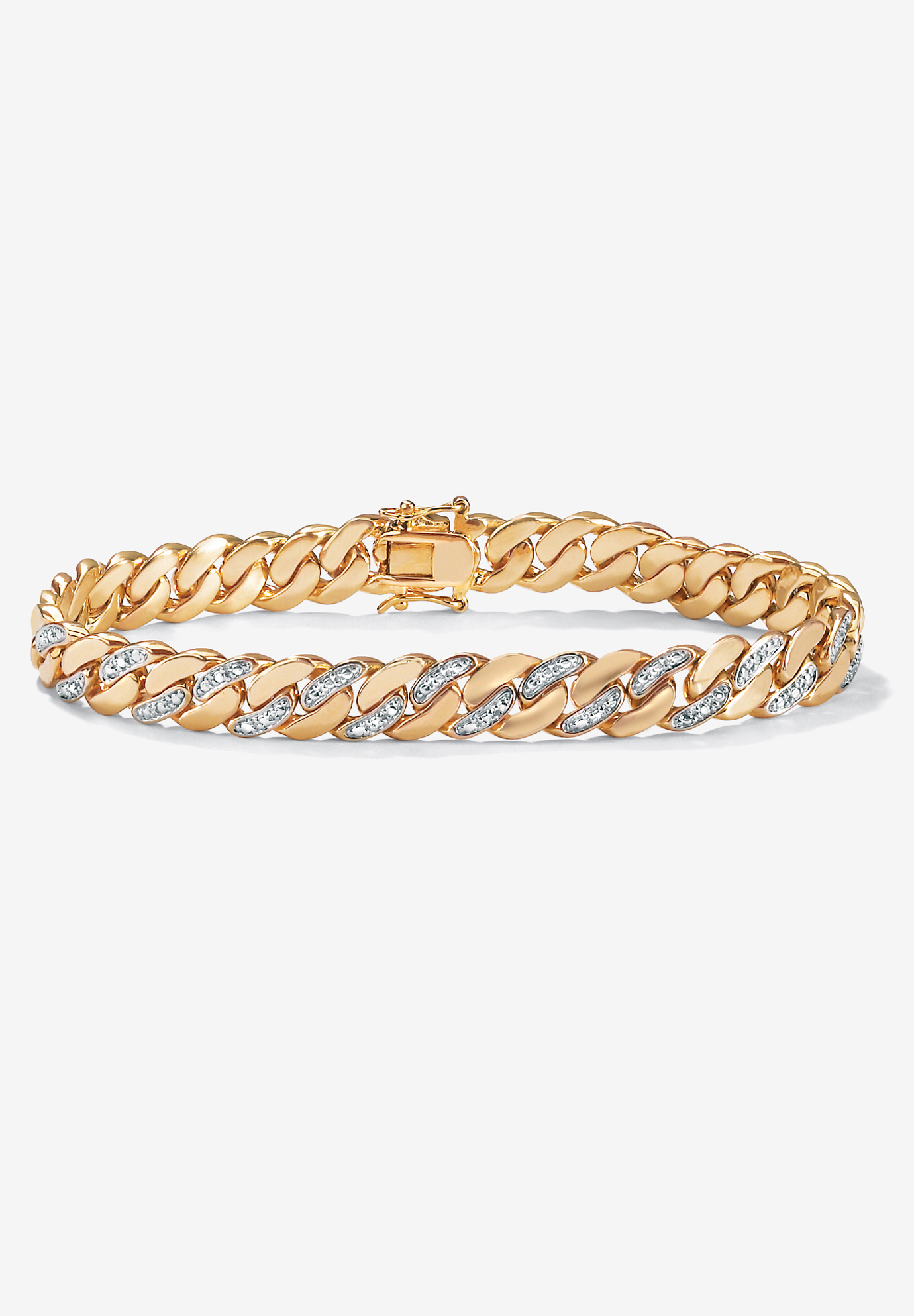 "9.5"" Gold-Plated Curb-Link Bracelet with Diamond Accents, GOLD"